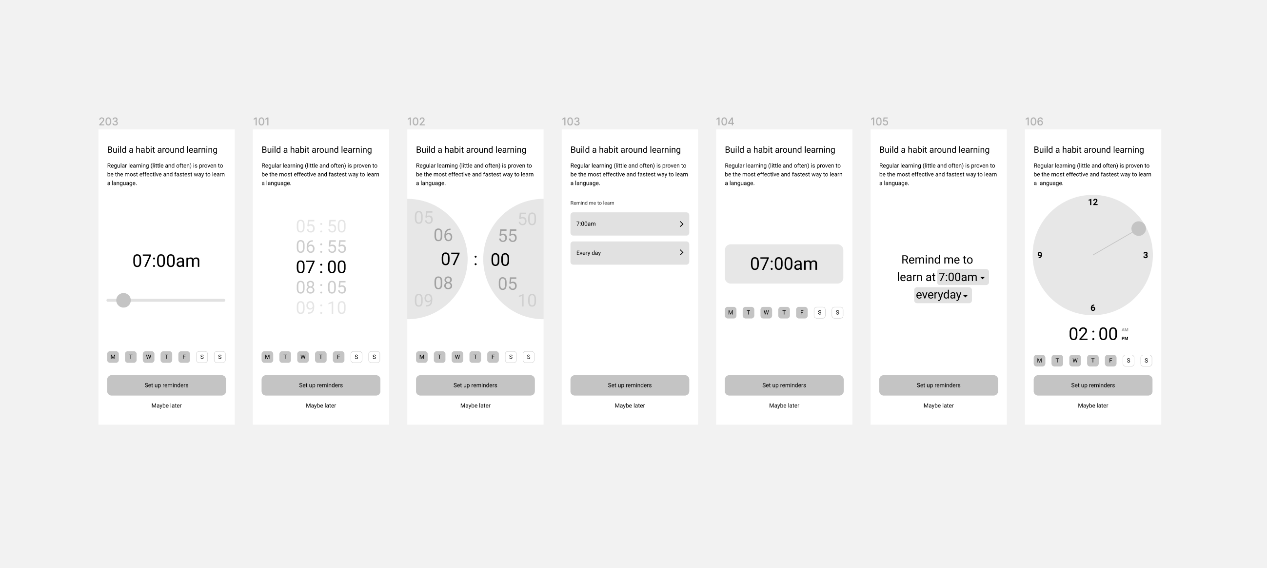Early concepts for how users could input their learning schedule preferences
