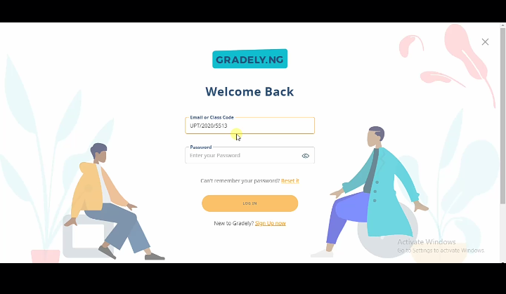 Welcome page. Join Gradely as a student