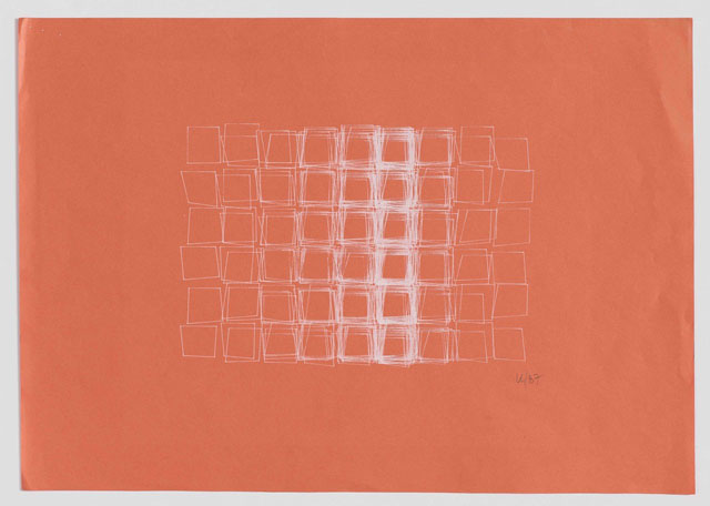 Structure de Quadrilatères (Square Structures), 1987. Computer drawing with white ink on salmon-coloured paper, 11 3/4 x 16 1/2 in. Courtesy Senior & Shopmaker Gallery, New York.