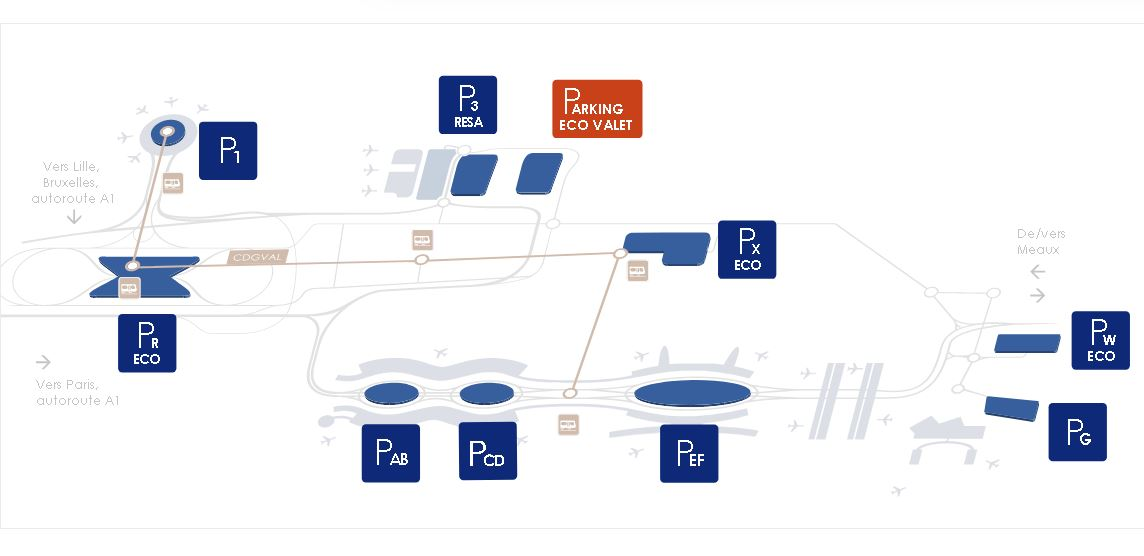 Paris Airport Parking Map