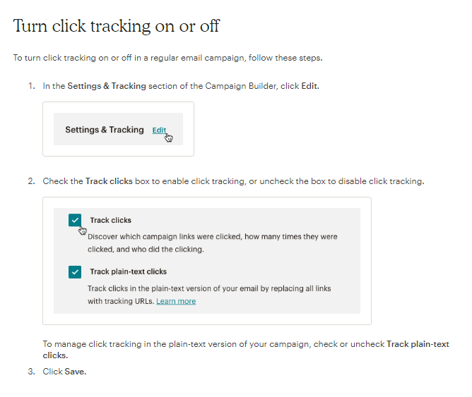 Tracking email clicks in MaiChimp