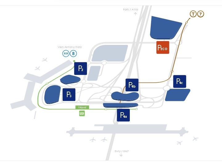 Paris Orly Airport Parking Map