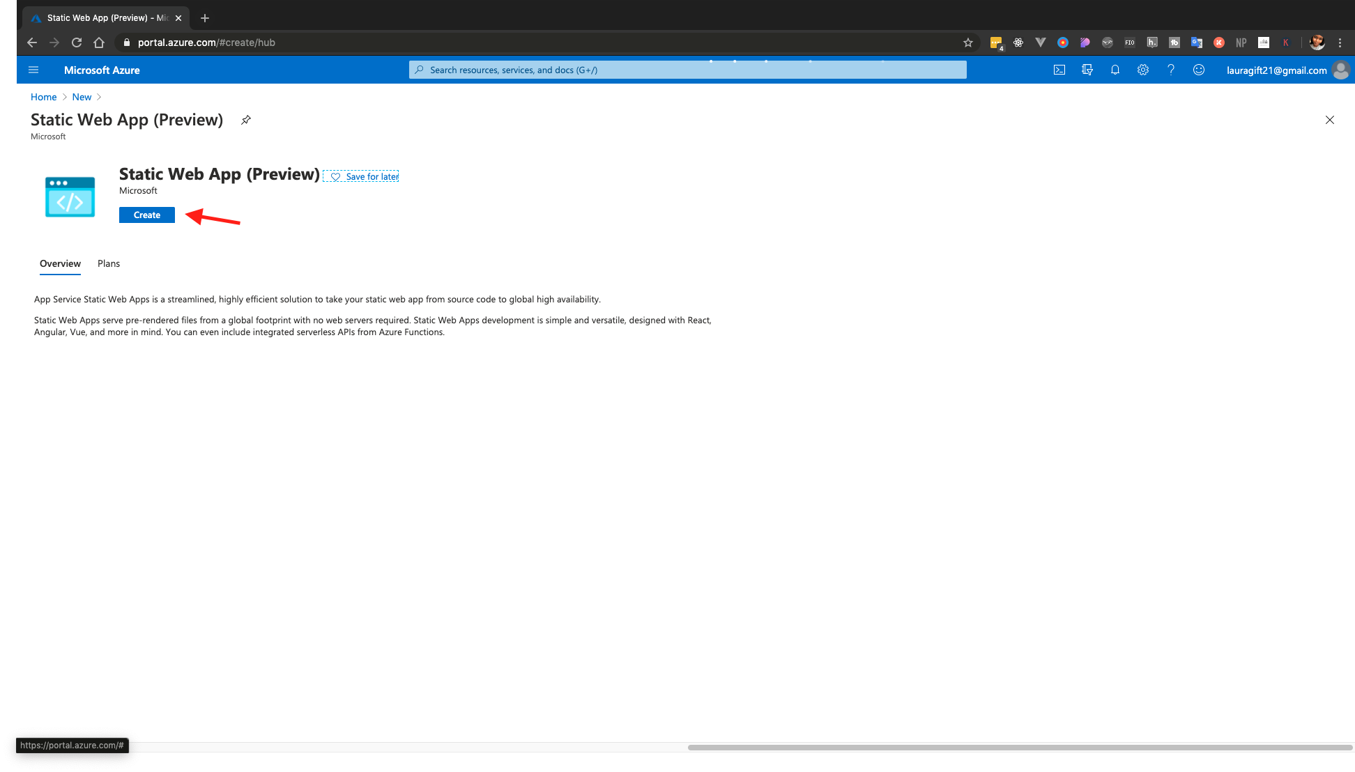 setting up azure static web apps