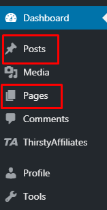 Posts Vs Pages in WordPress Dashboard