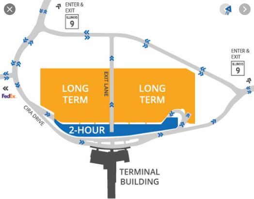 Central Illinois Airport Parking Map