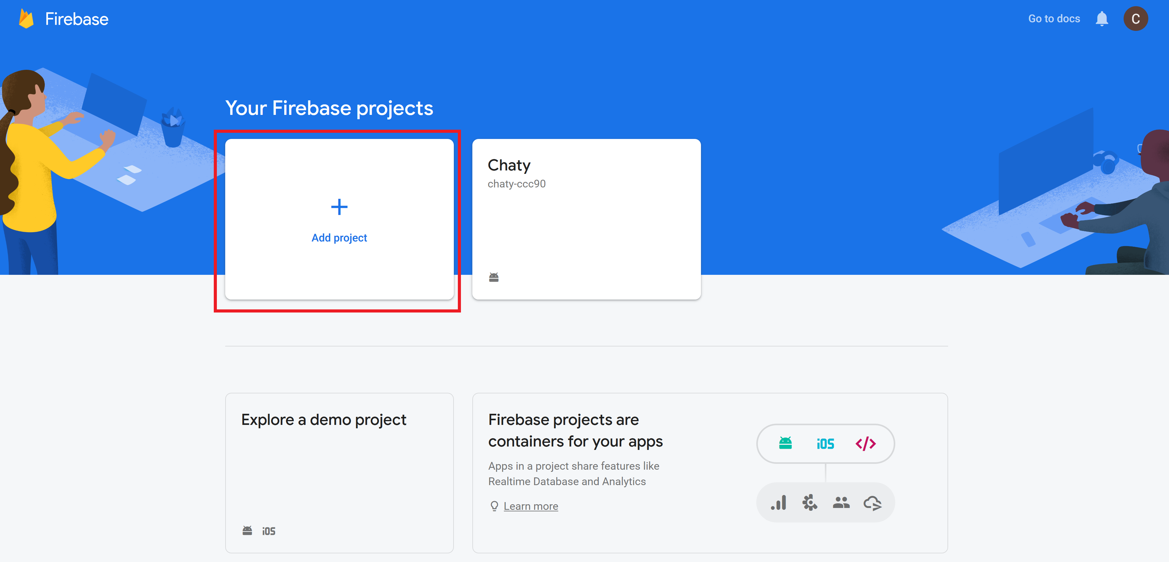 Creating new project in Firebase Console