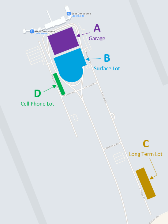 Jackson Evers Airport Parking Map