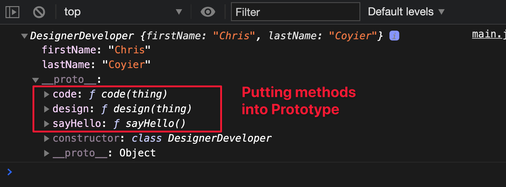 Composition via Classes by putting methods into the Prototype.
