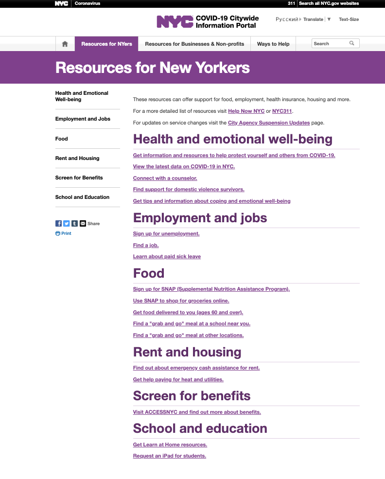 NYC Covid-19 Resources for New Yorkers page