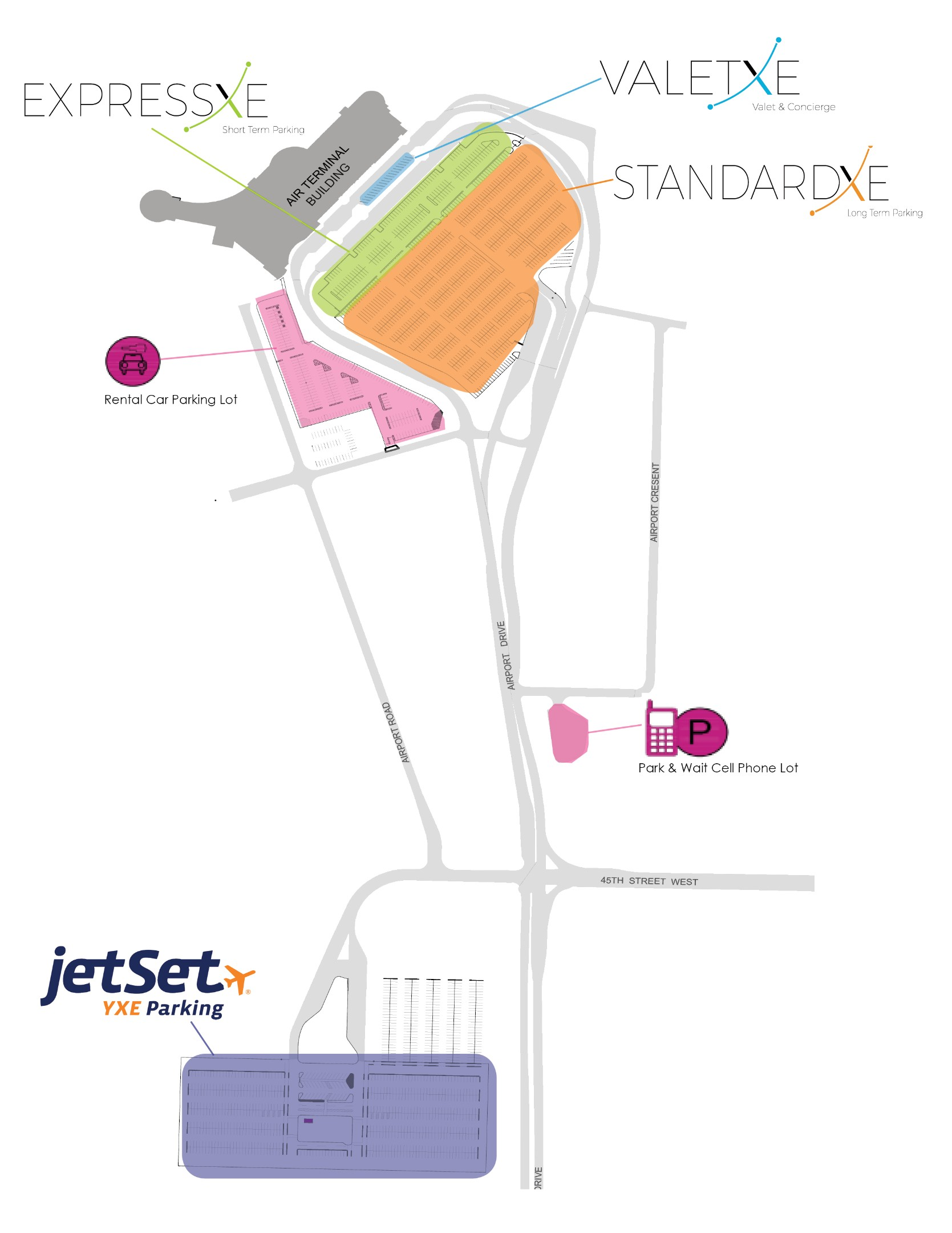 Saskatoon Airport Parking Map