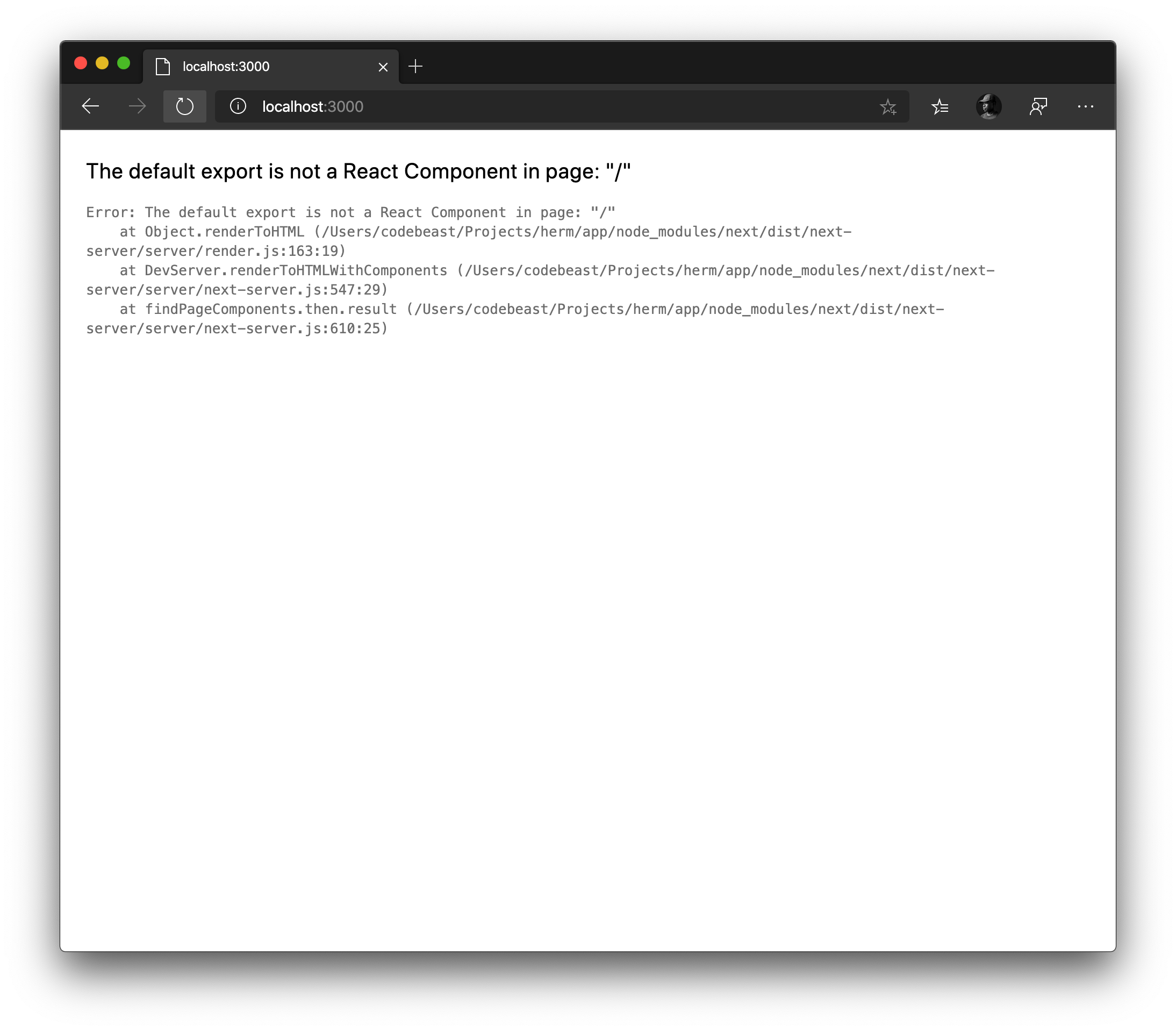 Error after pages/index.js is added
