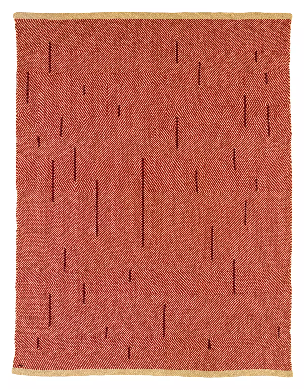 With Verticals, 1946. Red cotton and linen 1549 x 1181 mm.