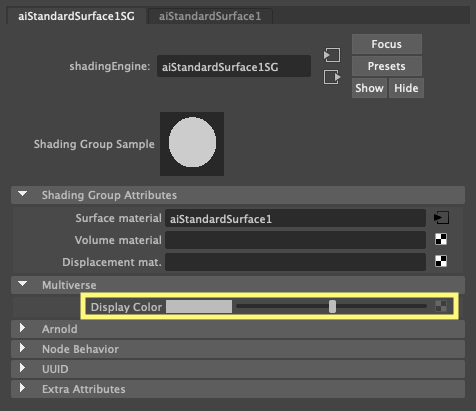 The Display Color on a Shading Group node (shadingEngine)