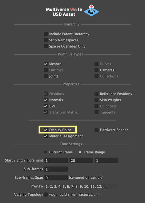 The Display Color option in the Multiverse Write USD Asset UI