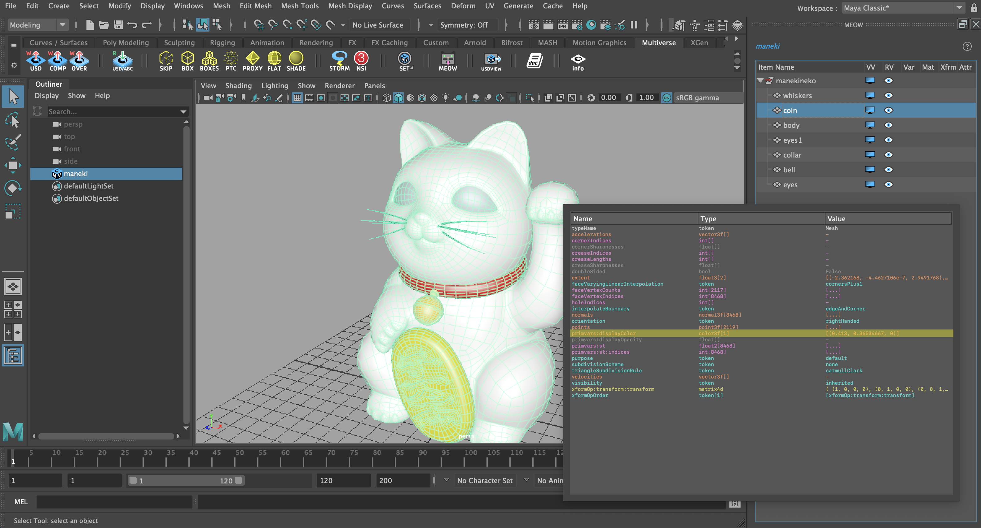 Display Color in the Multiverse Storm viewport and in the MEOW Property InfoPanel (MMB on Item Name)