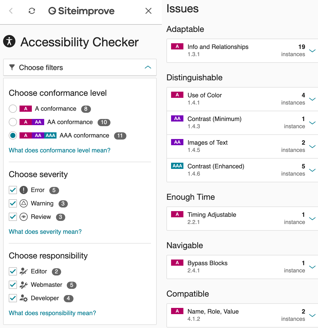 Screengrab of Siteimprove's test results screen, one of our favorite Web Accessibility Tools.
