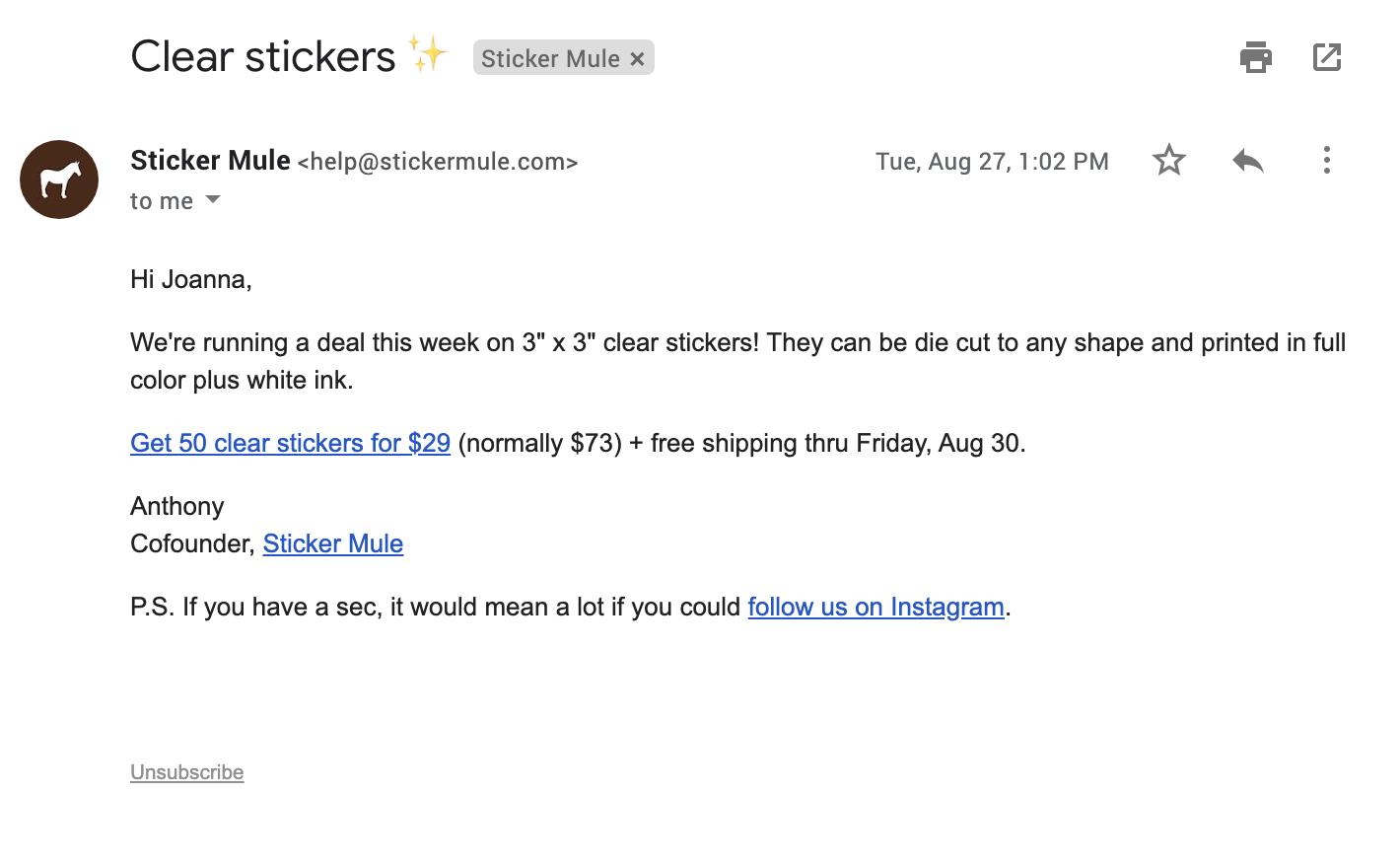 Sticker Mule email.