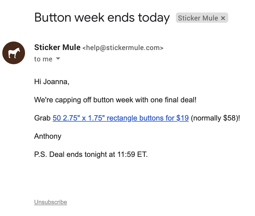 Another Sticker Mule email.