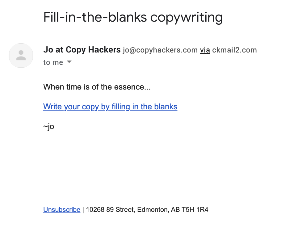 An example of a short email Jo wrote.