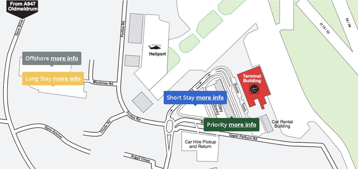 Aberdeen Airport Parking Map