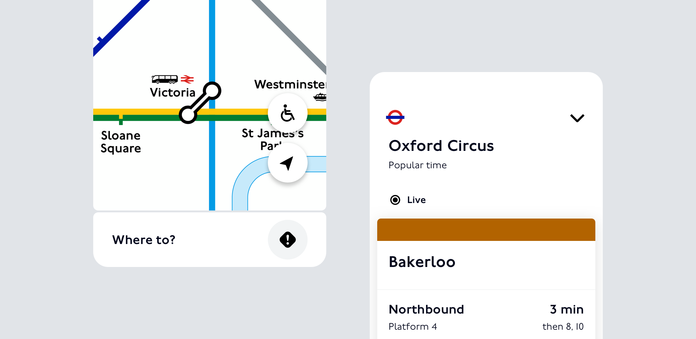 An image of TfL Go, showing Oxford Circus and the live digital Tube map