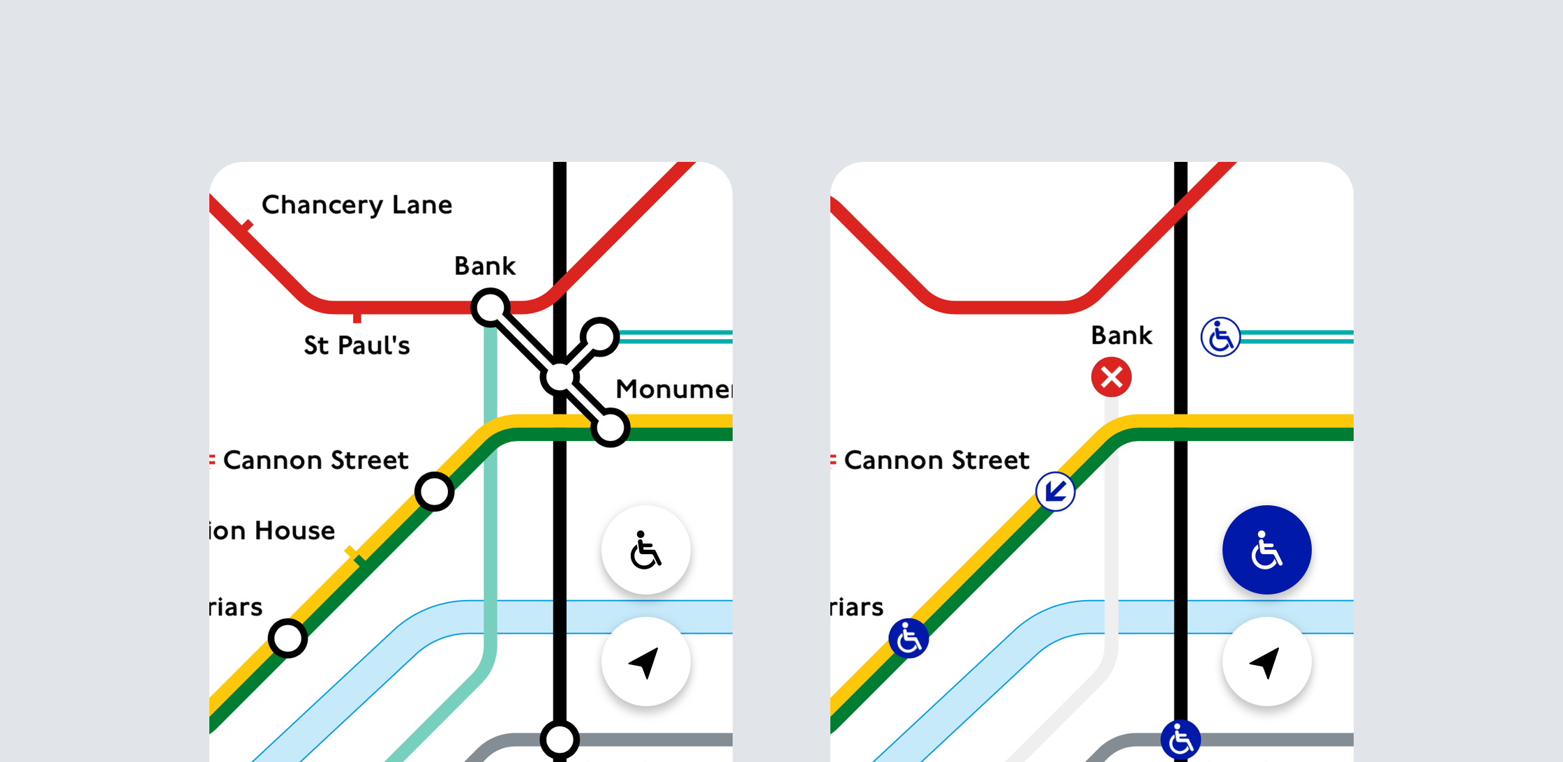 An image of the live digital Tube map switching to step-free mode