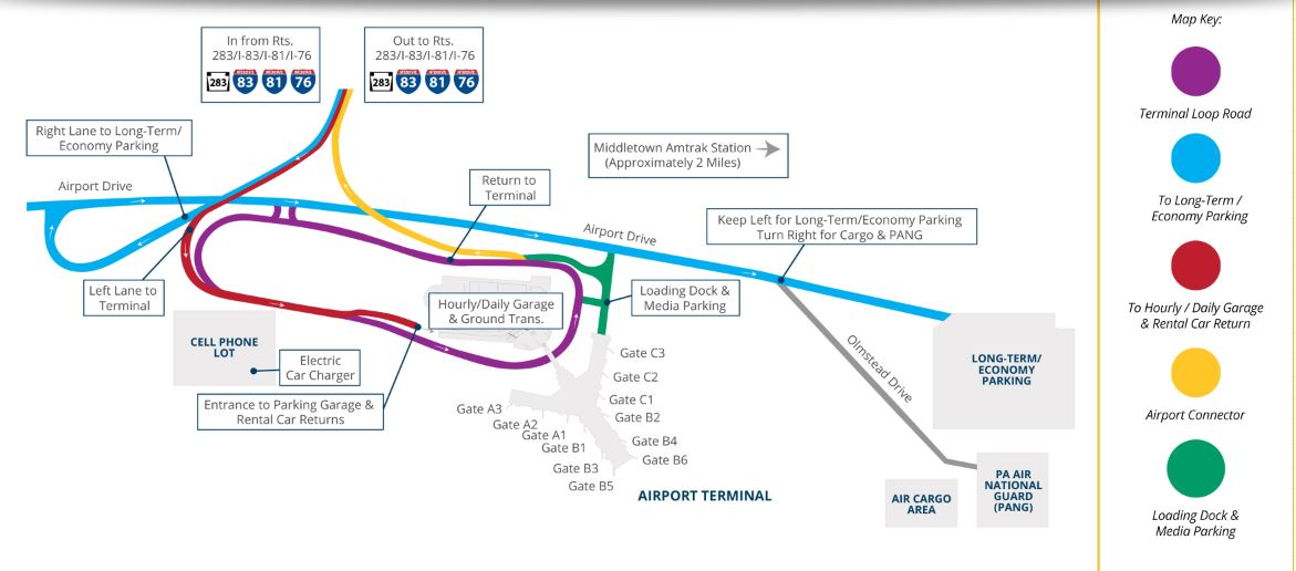 Harrisburg Airport Parking Map