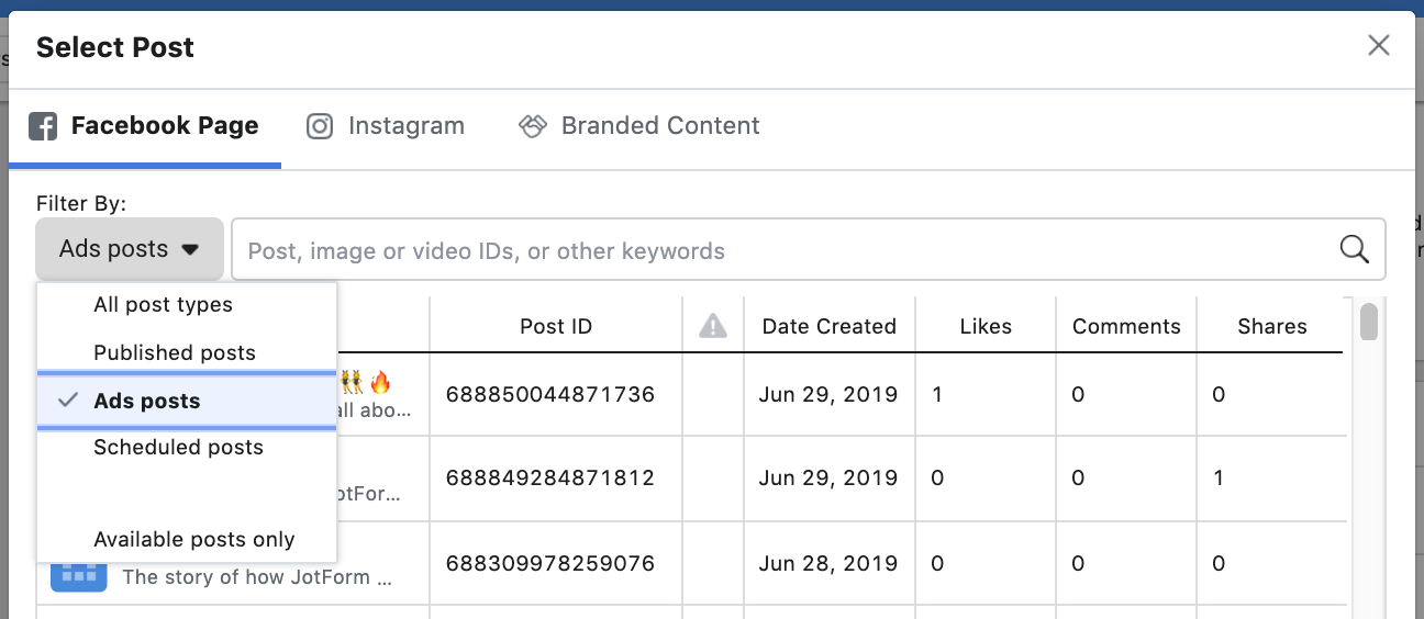 Facebook Ad - Filter by post