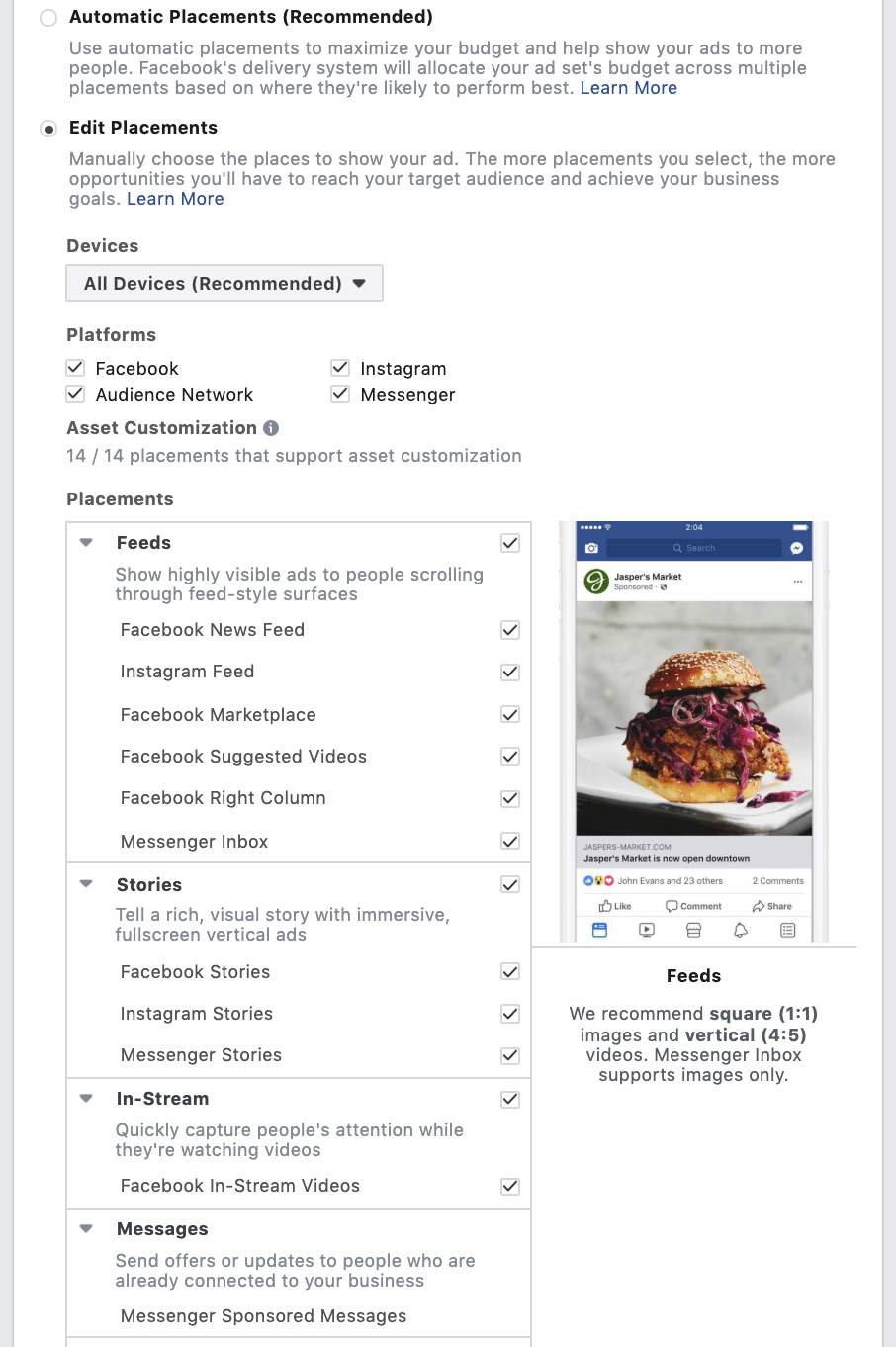 Facebook Ad - Devices & Placements