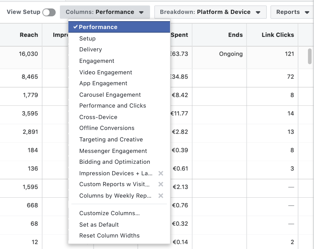Facebook Ad reporting - Performance Columns