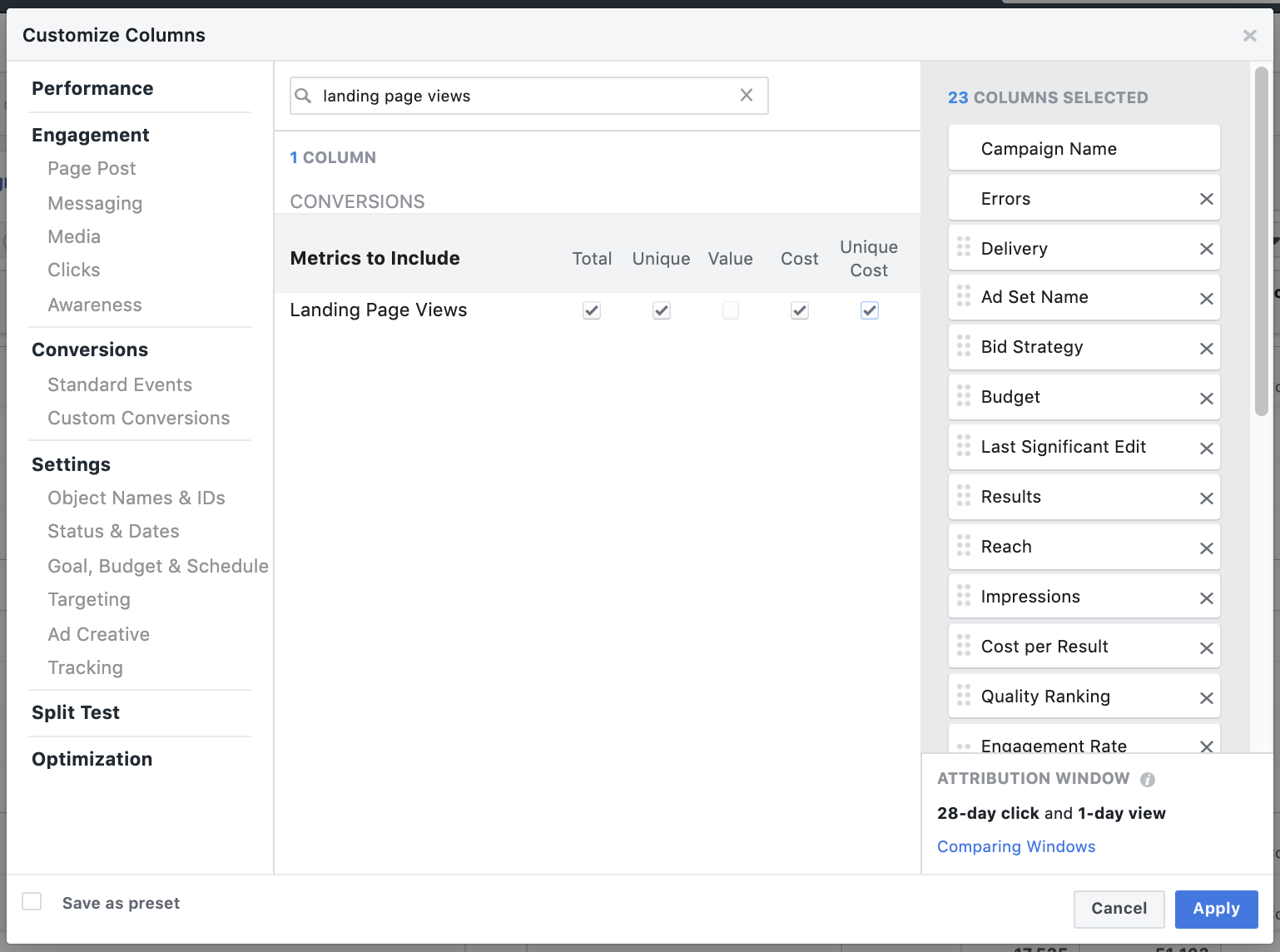 Facebook Ad reporting - landing page views