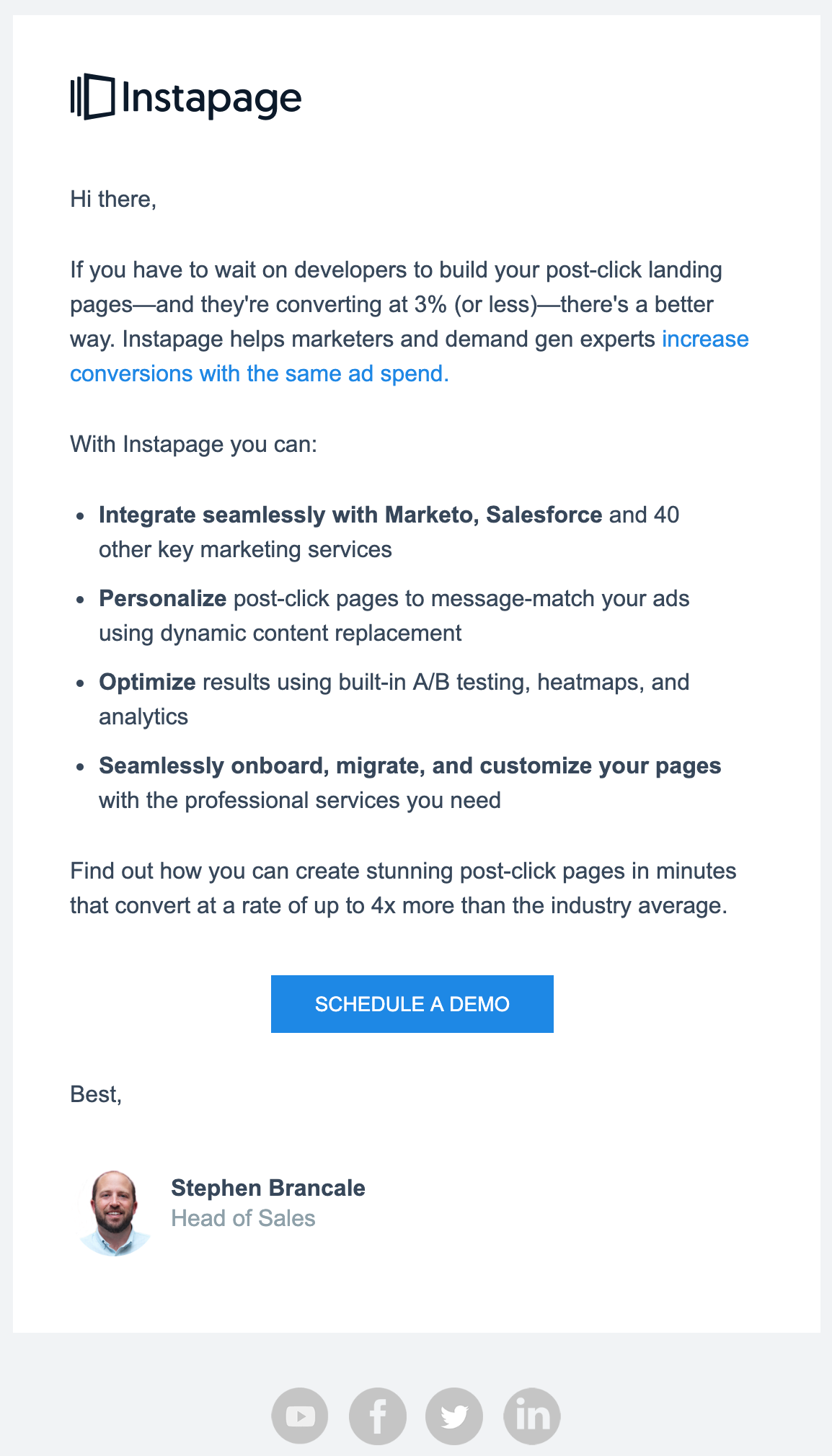Instapage email