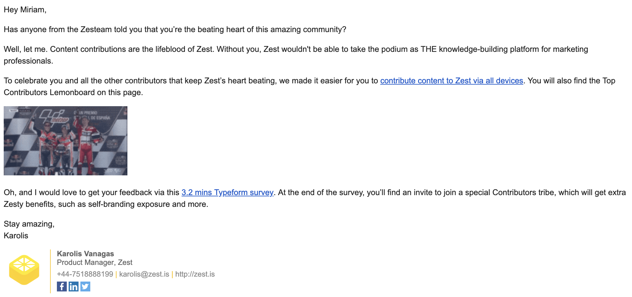 Zest email