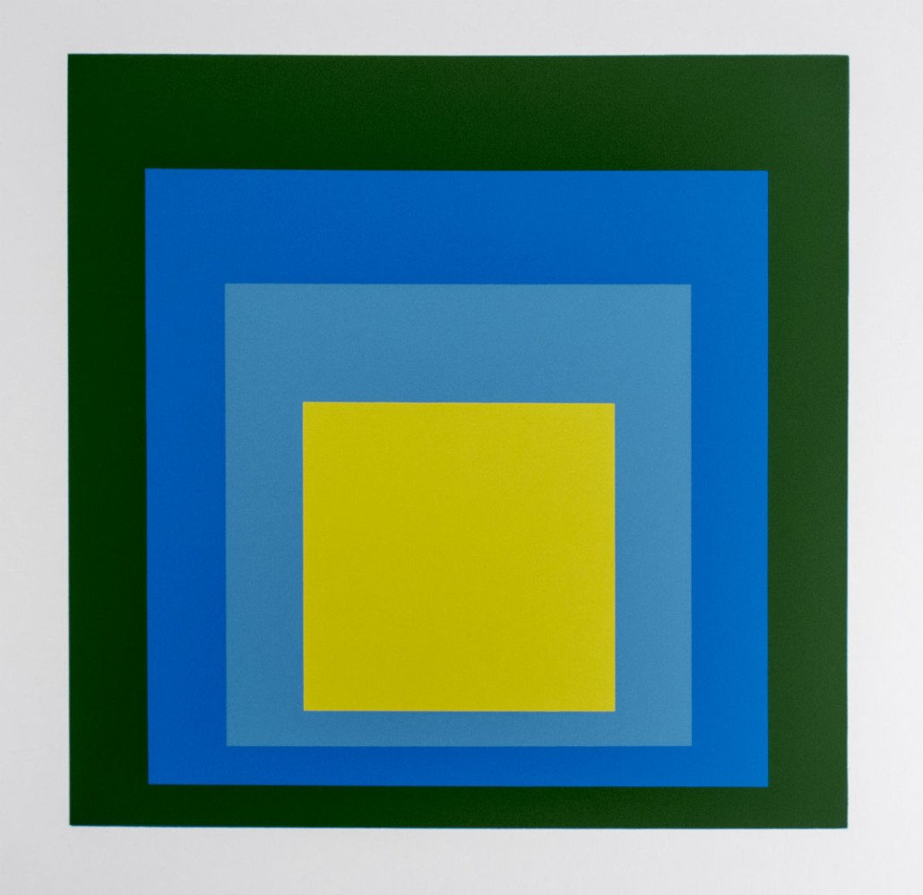 Josef Albers Homage to the Square, color squares in Bauhaus style.