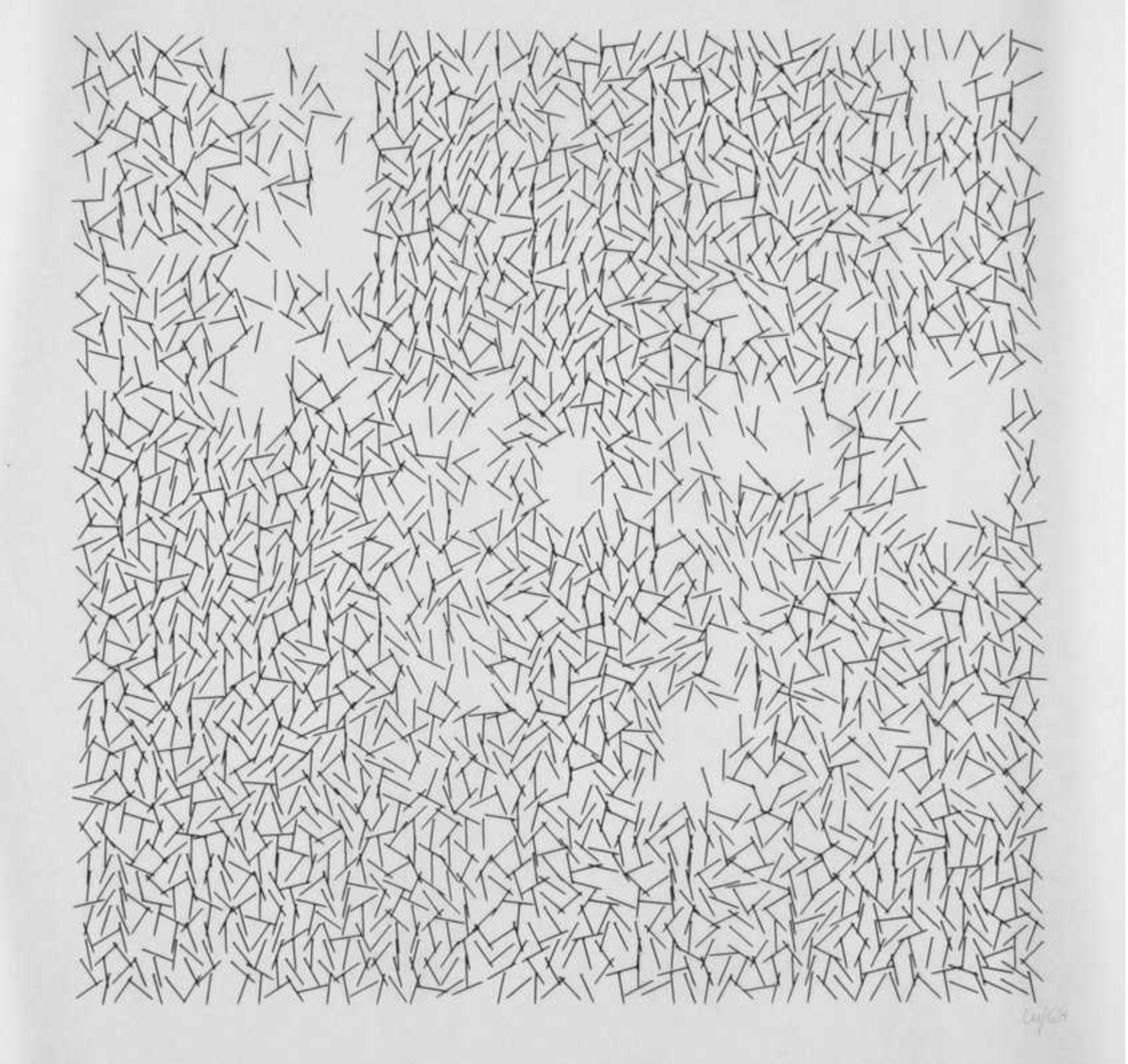 Vera Molnar, Interruptions, 1968/69, open series, plotter drawing, 28.5 x 28.5 cm