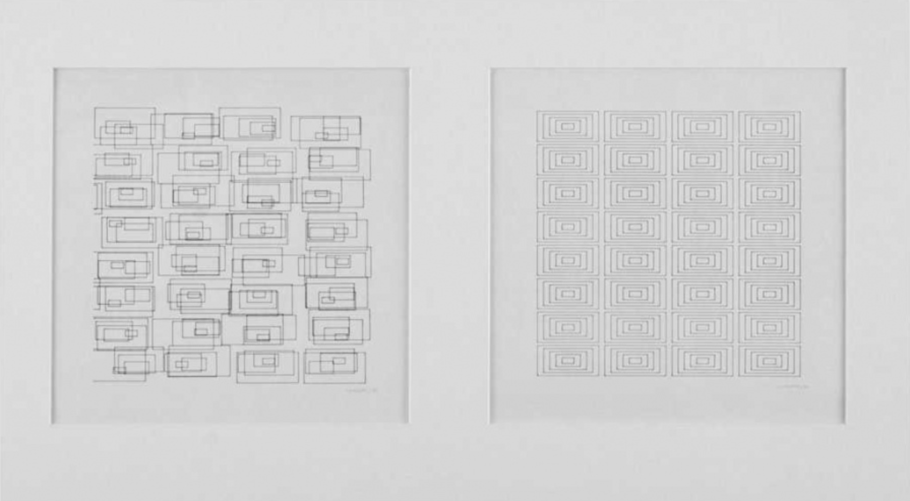 Vera Molnar, Transformations de 160 rectangles, completed series of 6 sheets, 2 variations, plotter drawing, 1976, +/- 21 x 21 cm