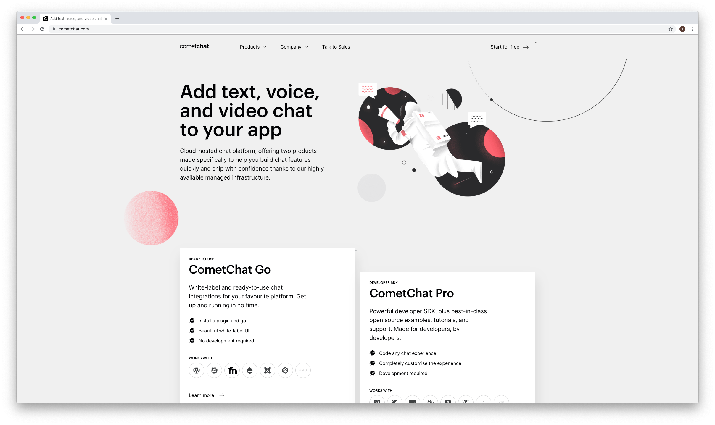 The new CometChat homepage