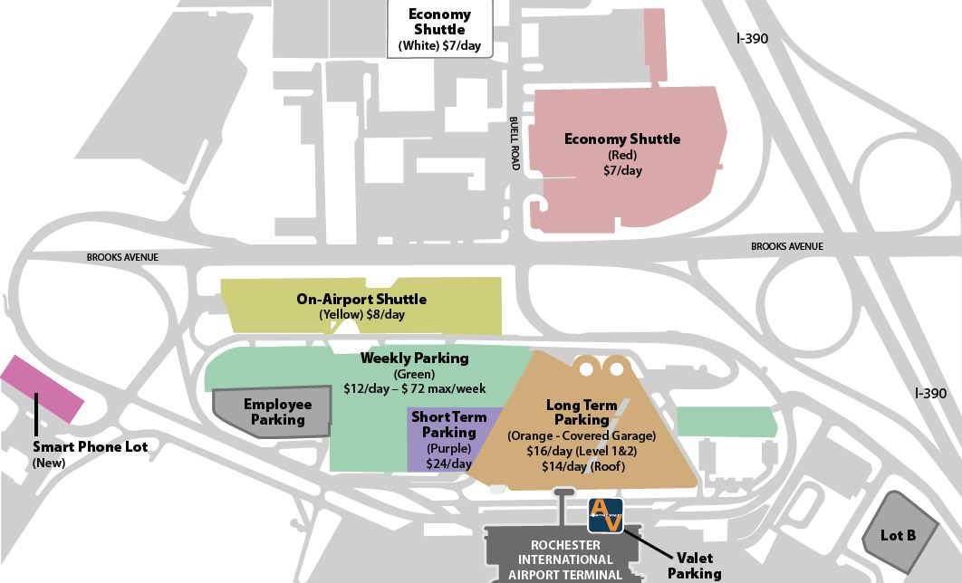 Greater Rochester Airport Parking Map
