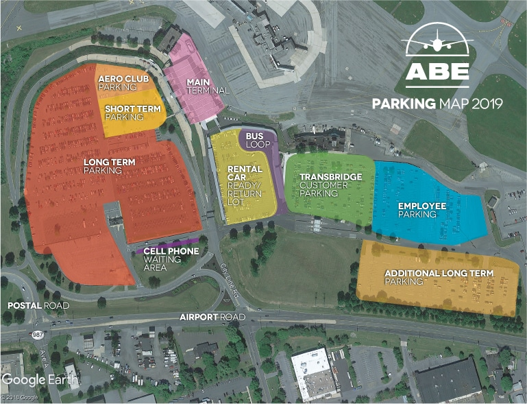 Lehigh Valley Airport Parking Map