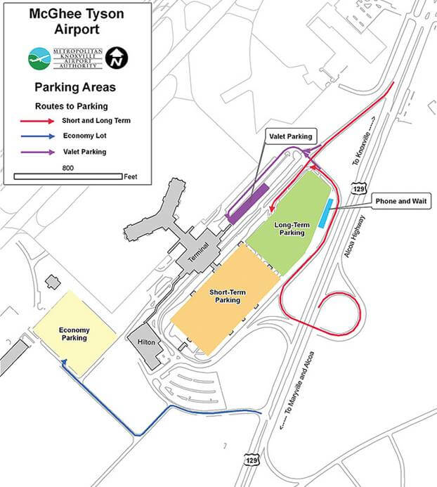 Knoxville Airport parking map