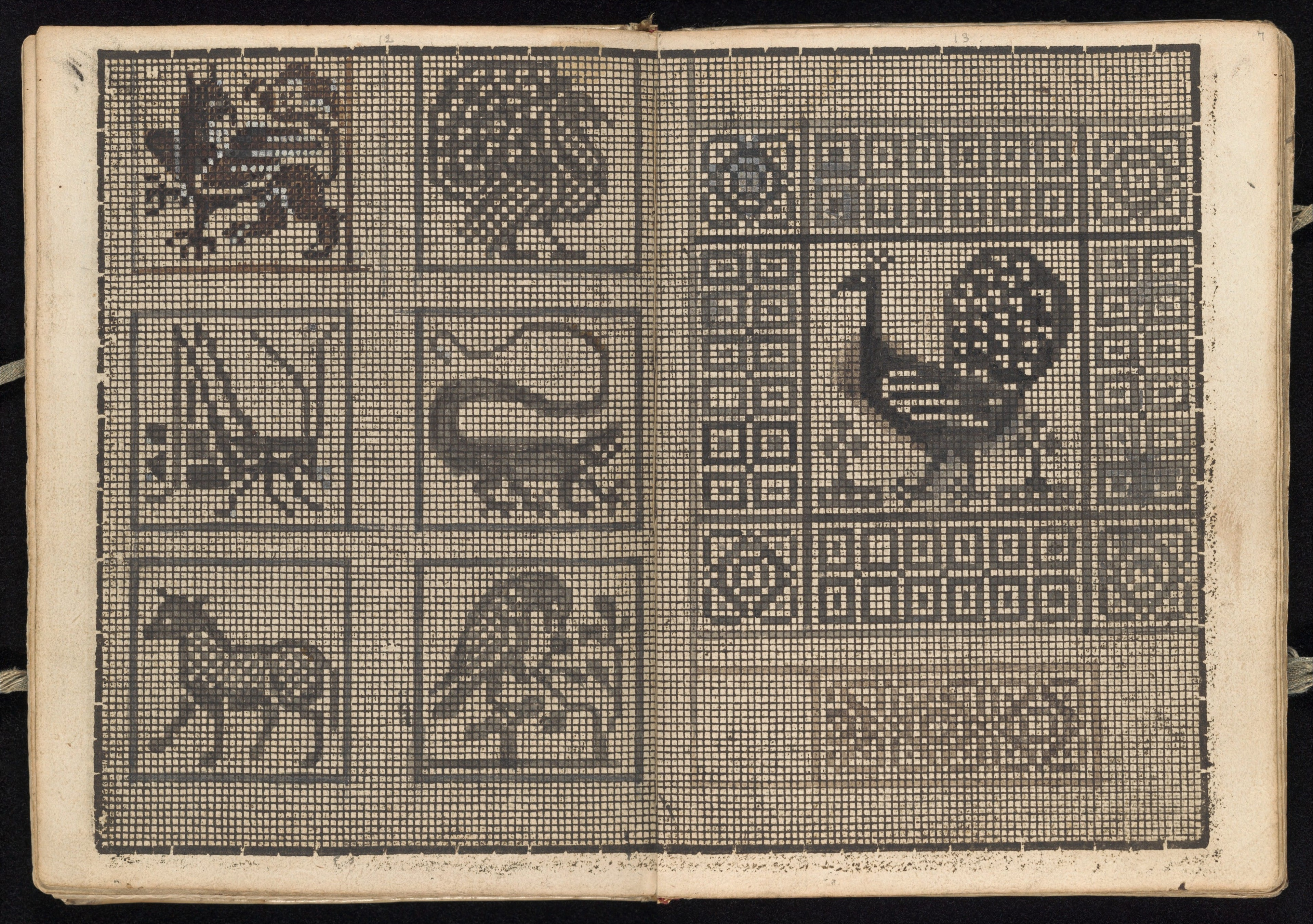 A printed grid with pen and ink designs. c. 1596. Source: The Met.